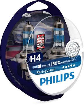 Комплект автоламп Philips RacingVision H4 60/55W +150% 12342 RVS2