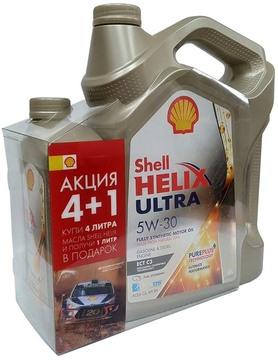 Масло моторное Shell Helix Ultra ECT 5w30 C3 4л синтетическое + 1л в подарок