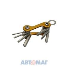 Набор ключей для винтов с внутренним шестигранником, раскладной, 2мм-6мм и отверток РН2 и шлиц 5мм, 7шт., красная или золотистая ручка