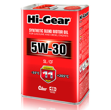 Масло моторное полусинтетическое Hi-Gear 5W30 SL/CF 4л