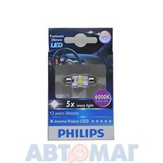 Автолампа PHILIPS C5W 1W 12V LED 6000K 12859