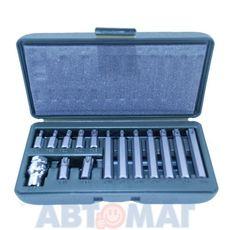 Набор вставок TORX 15 предметов Т20,Т,25,Т30,Т40,Т45,Т50,Т55-30 и 75 мм, переходник