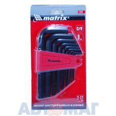 Набор ключей имбусовых HEX, 2,0–12 мм, CrV, 9 шт., оксидированные// MATRIX