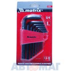 Набор ключей имбусовых HEX, 1,5–10 мм, CrV,  9 шт.// MATRIX