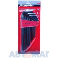 Набор ключей имбусовых HEX, 2,0–12 мм, CrV,  9 шт., удлиненные// MATRIX
