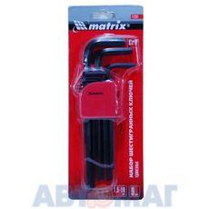 Набор ключей имбусовых HEX, 1,5–10 мм, CrV, 9 шт., удлиненные// MATRIX