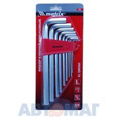 Набор ключей имбусовых HEX, 2–12 мм, CrV, 9 шт., удлиненные , сатин.// MATRIX