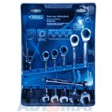 Набор ключей комбинированных с трещоткой, 8 - 19 мм, 7шт., CrV// GROSS