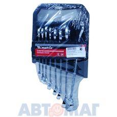 Набор ключей комбинированных, 8 - 19 мм, 8 шт., CrV, полированный хром// MATRIX