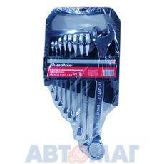 Набор ключей комбинированных, 6 - 22 мм, 9 шт., CrV, полированный хром// MATRIX