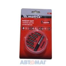 Набор бит, магнитный адаптер для бит, сталь 45Х, 7 предм., в пласт. закрытом боксе// MATRIX