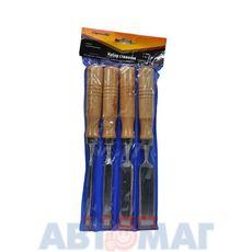 Набор стамесок, 6-12-18-24 мм, плоские,  деревянные рукоятки// SPARTA