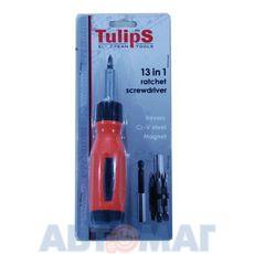 Отвертка реверсивная 13в1, CrV, Sl4,5,6мм    Ph1,2,3    Pz1,2,3   T15,20,25 (Tulips Tools)