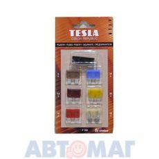Предохранители плоские TESLA F224 к-т ВАЗ 2110 (5А,7,5А,10А,40А;2х15,20,25,30А) с пинцетом