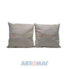 Подушка декоративная PEUGEOT (бежевая) (иск.замша) (к-т2шт)