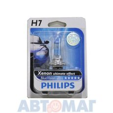 Автолампа PHILIPS Blue Vision Ultimate H7 55W 12V 12972