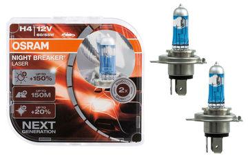 Комплект автоламп OSRAM Night Braker Lazer H4 60/55W 12V +150% (64193 NL_HCB)