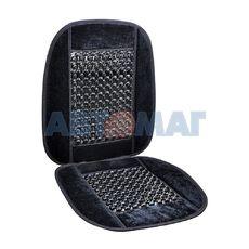 Накидка на сидение массажная черная, велюр (AV-010022)